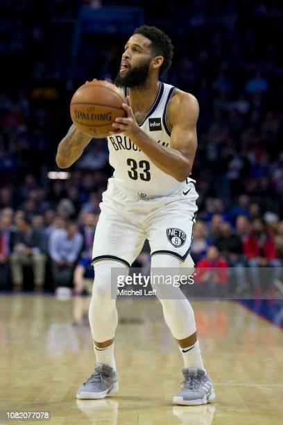 Allen Crabbe of the Brooklyn Nets shoots the ball against the Philadelphia 76ers at the Wells Fargo Center on December 12 2018 in Philadelphia...