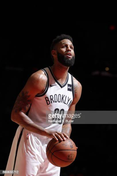 Allen Crabbe of the Brooklyn Nets shoots the ball against the Philadelphia 76ers on October 11 2017 at Nassau Veterans Memorial Coliseum in Uniondale...