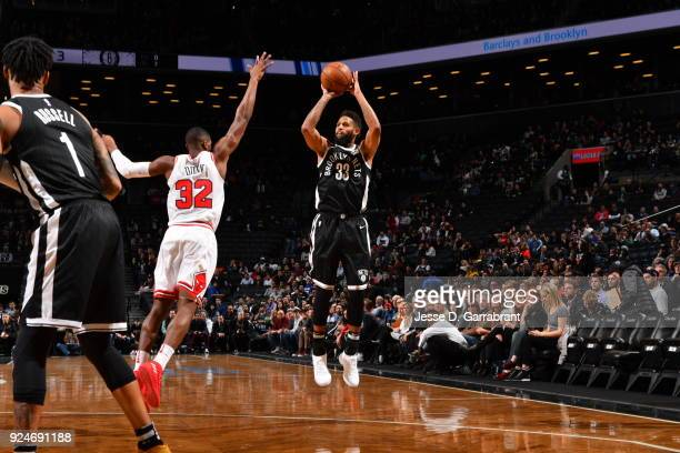 Allen Crabbe of the Brooklyn Nets shoots the ball against the Chicago Bulls on February 262018 at Barclays Center in Brooklyn New York on Drazen...