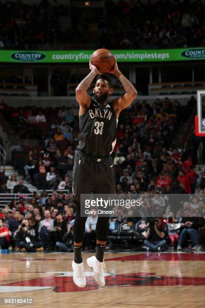 Allen Crabbe of the Brooklyn Nets shoots the ball against the Chicago Bulls on April 7 2018 at the United Center in Chicago Illinois NOTE TO USER...