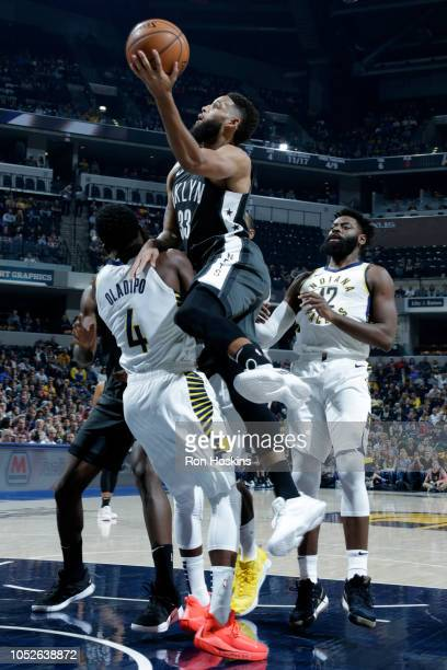 Allen Crabbe of the Brooklyn Nets shoots the ball against the Indiana Pacers during a game on October 20 2018 at Bankers Life Fieldhouse in...