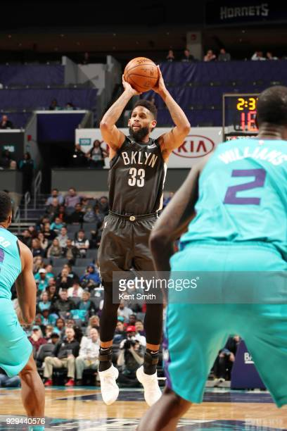 Allen Crabbe of the Brooklyn Nets shoots the ball against the Charlotte Hornets on March 8 2018 at Spectrum Center in Charlotte North Carolina NOTE...