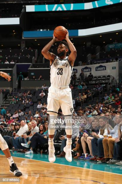 Allen Crabbe of the Brooklyn Nets shoots the ball against the Charlotte Hornets on February 22 2018 at Spectrum Center in Charlotte North Carolina...