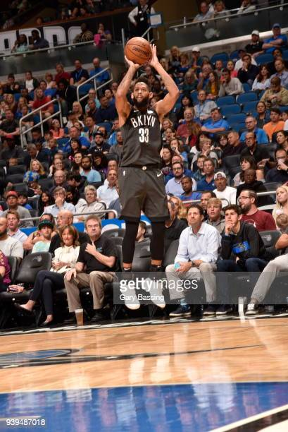 Allen Crabbe of the Brooklyn Nets shoots the ball against the Orlando Magic on March 28 2018 at Amway Center in Orlando Florida NOTE TO USER User...