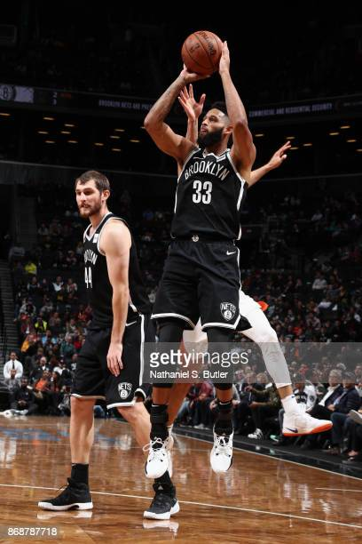 Allen Crabbe of the Brooklyn Nets shoots the ball against the Phoenix Suns on October 31 2017 at Barclays Center in Brooklyn New York NOTE TO USER...