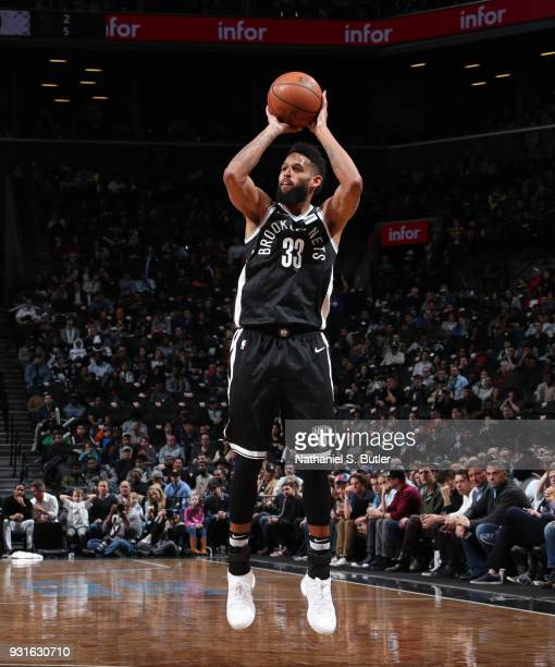 Allen Crabbe of the Brooklyn Nets shoots the ball against the Toronto Raptors on March 13 2018 at Barclays Center in Brooklyn New York NOTE TO USER...