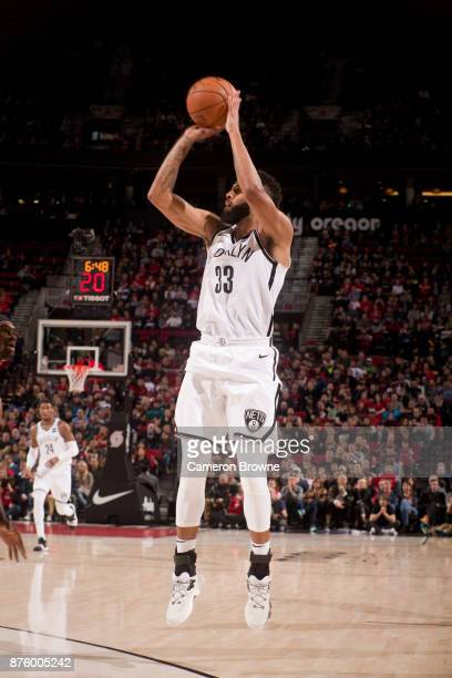 Allen Crabbe of the Brooklyn Nets shoots the ball against the Portland Trail Blazers on November 10 2017 at the Moda Center Arena in Portland Oregon...