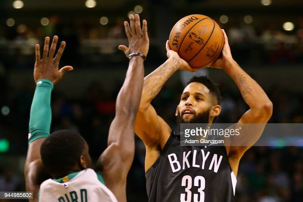 Allen Crabbe of the Brooklyn Nets shoots the ball during a game against the Boston Celtics at TD Garden on April 11 2018 in Boston Massachusetts NOTE...