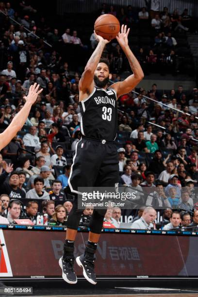 Allen Crabbe of the Brooklyn Nets shoots the ball during the game against the Atlanta Hawks on October 22 2017 at Barclays Center in Brooklyn New...