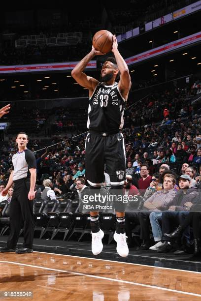 Allen Crabbe of the Brooklyn Nets shoots the ball during the game against the Indiana Pacers on February 14 2018 at Barclays Center in Brooklyn New...