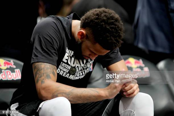 Allen Crabbe of the Brooklyn Nets takes a moment prior to taking on the New Orleans Pelicans during their game at Barclays Center on February 10 2018...