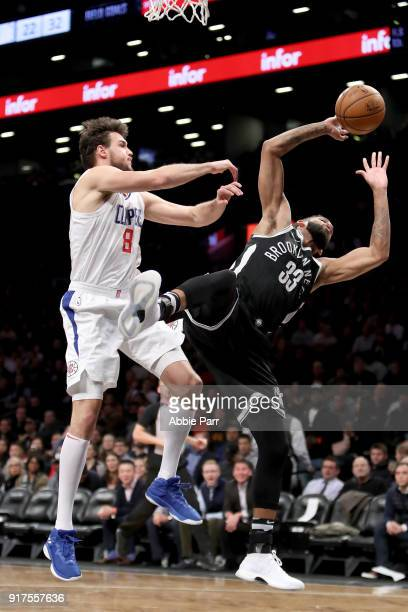 Allen Crabbe of the Brooklyn Nets takes a shot against Danilo Gallinari of the LA Clippers in the second quarter during their game at Barclays Center...
