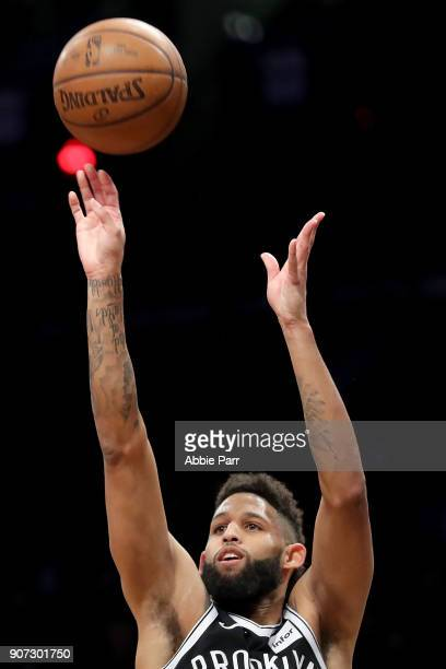 Allen Crabbe of the Brooklyn Nets takes a shot against the Miami Heat in the second quarter during their game at Barclays Center on January 19 2018...