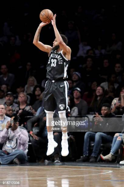 Allen Crabbe of the Brooklyn Nets takes a shot against the New Orleans Pelicans in the third quarter during their game at Barclays Center on February...