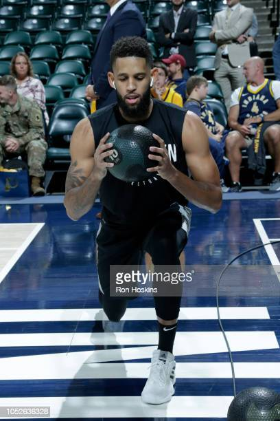 Allen Crabbe of the Brooklyn Nets warms up prior to a game against the Indiana Pacers on October 20 2018 at Bankers Life Fieldhouse in Indianapolis...