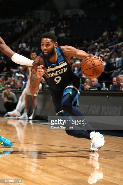 Allen Crabbe of the Minnesota Timberwolves handles the ball against the Denver Nuggets on January 20 2020 at Target Center in Minneapolis Minnesota...