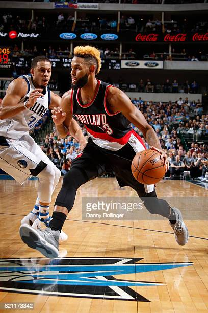 Allen Crabbe of the Portland Trail Blazers drives against the Dallas Mavericks on November 4 2016 at the American Airlines Center in Dallas Texas...