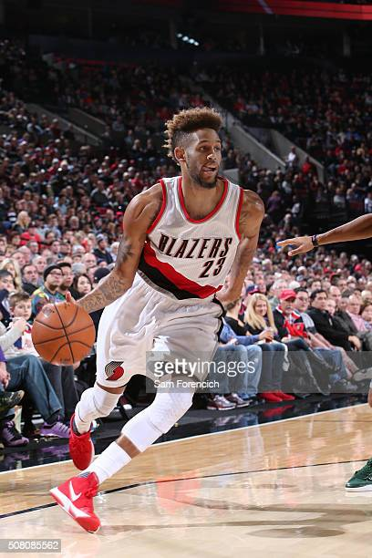 Allen Crabbe of the Portland Trail Blazers drives to the basket against the Milwaukee Bucks during the game on February 2 2016 at Moda Center in...