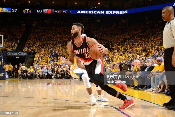 Allen Crabbe of the Portland Trail Blazers drives to the basket during the game against the Golden State Warriors during Game Two of the Western...