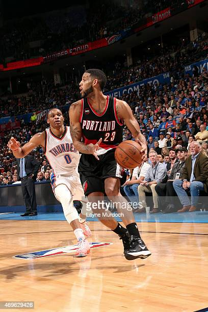 Allen Crabbe of the Portland Trail Blazers handles the ball against the Oklahoma City Thunder on April 13 2015 at Chesapeake Energy Arena in Oklahoma...