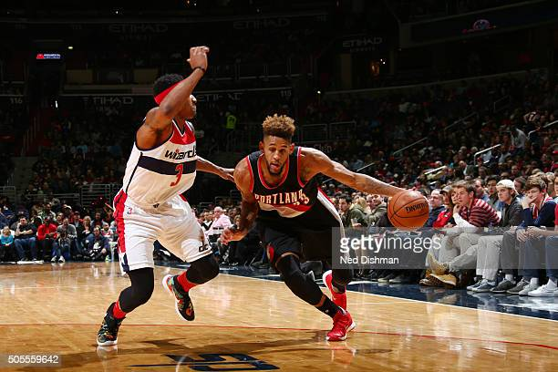 Allen Crabbe of the Portland Trail Blazers handles the ball against the Washington Wizardson January 18 2016 at Verizon Center in Washington DC NOTE...