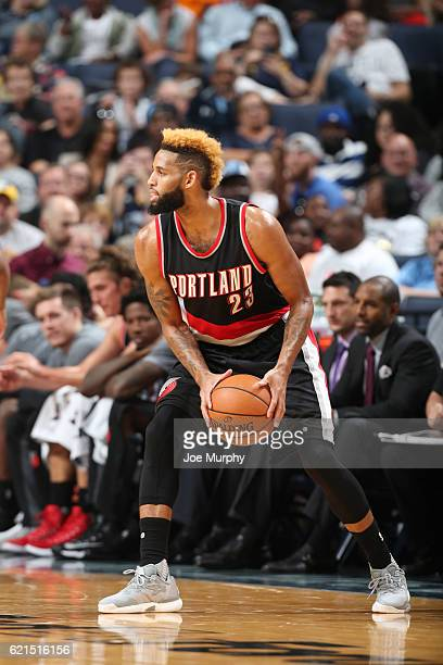 Allen Crabbe of the Portland Trail Blazers handles the ball against the Memphis Grizzlies during the game on November 6 2016 at FedExForum in Memphis...