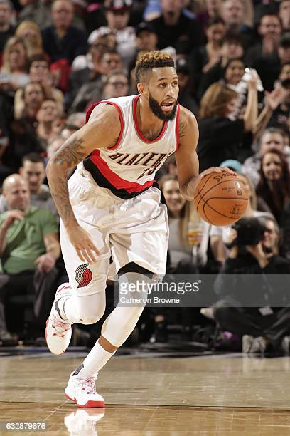 Allen Crabbe of the Portland Trail Blazers handles the ball against the Memphis Grizzlies on January 27 2017 at the Moda Center in Portland Oregon...