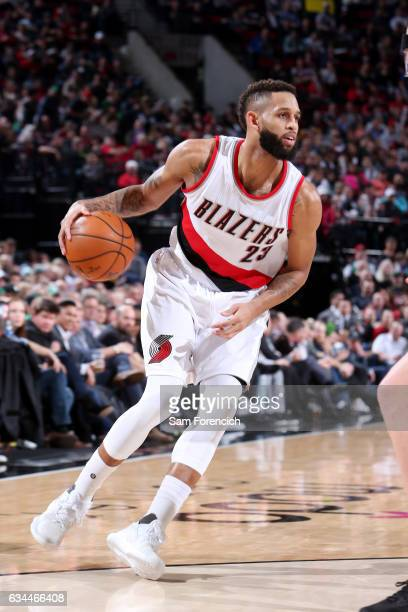 Allen Crabbe of the Portland Trail Blazers handles the ball against the Boston Celtics on February 9 2017 at the Moda Center in Portland Oregon NOTE...