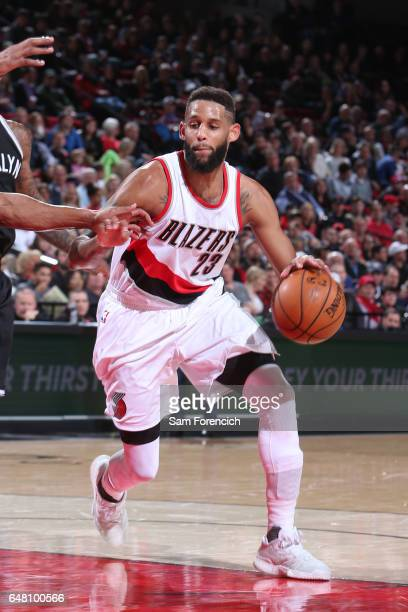 Allen Crabbe of the Portland Trail Blazers handles the ball against the Brooklyn Nets on March 4 2017 at the Moda Center in Portland Oregon NOTE TO...