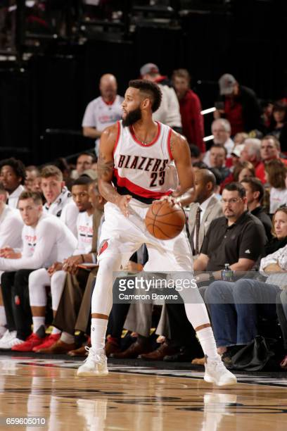 Allen Crabbe of the Portland Trail Blazers handles the ball against the Denver Nuggets on March 28 2017 at the Moda Center in Portland Oregon NOTE TO...