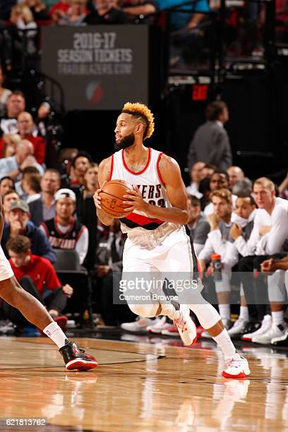 Allen Crabbe of the Portland Trail Blazers handles the ball during a game against the Phoenix Suns on November 8 2016 at the Moda Center in Portland...