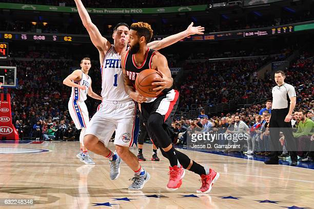 Allen Crabbe of the Portland Trail Blazers handles the ball during a game against the Philadelphia 76ers on January 20 2017 at the Wells Fargo Center...