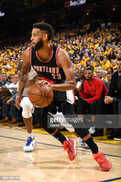 Allen Crabbe of the Portland Trail Blazers handles the ball during the game against the Golden State Warriors during the Western Conference...