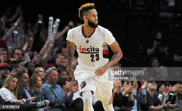 Allen Crabbe of the Portland Trail Blazers heads back up the court after hitting a shot in the fourth quarter of an NBA game against the Utah Jazz at...