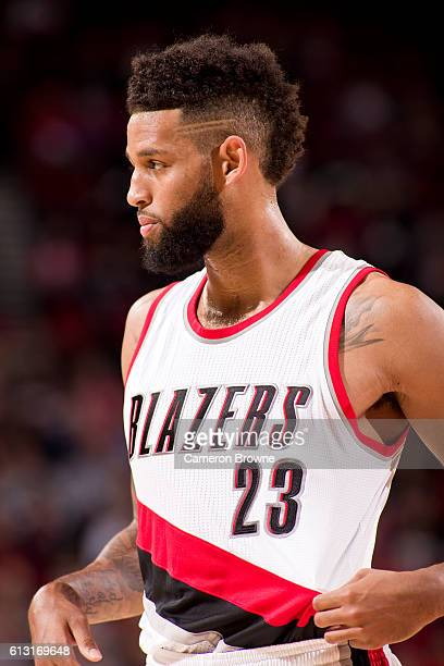 Allen Crabbe of the Portland Trail Blazers looks on during the game against the Utah Jazz on October 3 2016 at the Moda Center Arena in Portland...
