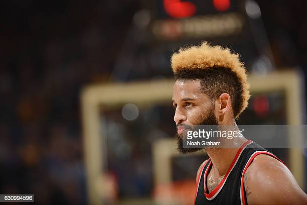 Allen Crabbe of the Portland Trail Blazers looks on during the game against the Golden State Warriors on January 4 2017 at ORACLE Arena in Oakland...