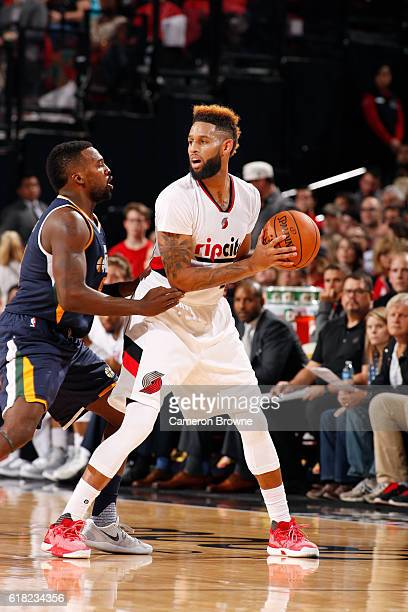 Allen Crabbe of the Portland Trail Blazers looks to pass against the Utah Jazz on October 25 2016 at the Moda Center in Portland Oregon NOTE TO USER...