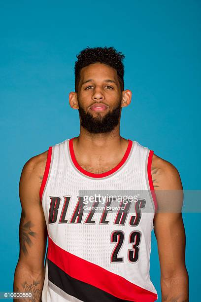 Allen Crabbe of the Portland Trail Blazers poses for a headshot during the 20162017 Portland Trail Blazers media day on September 26 2016 at the Rose...