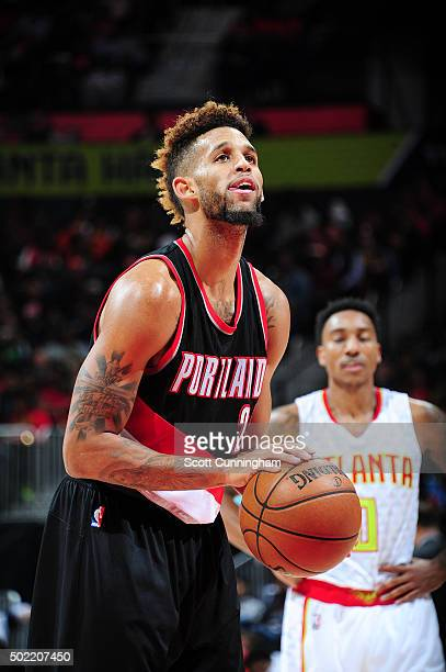 Allen Crabbe of the Portland Trail Blazers shoots a free throw during the game against the Atlanta Hawks on December 21 2015 at Philips Arena in...