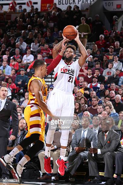 Allen Crabbe of the Portland Trail Blazers shoots the ball against the Cleveland Cavaliers on Decmeber 26 2015 at the Moda Center in Portland Oregon...