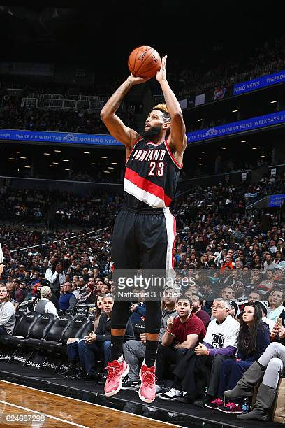 Allen Crabbe of the Portland Trail Blazers shoots the ball against the Brooklyn Nets on November 20 2016 at Barclays Center in Brooklyn New York NOTE...