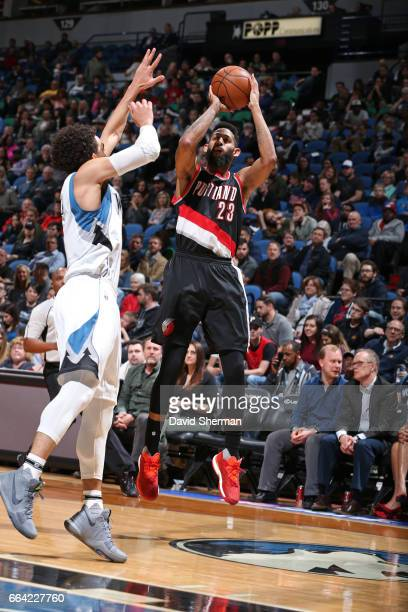 Allen Crabbe of the Portland Trail Blazers shoots the ball against the Minnesota Timberwolves at the Target Center in Minneapolis Minnesota on April...