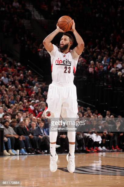 Allen Crabbe of the Portland Trail Blazers shoots the ball during a game against the Houston Rockets on March 30 2017 at the Moda Center in Portland...