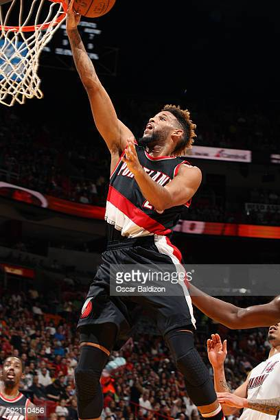 Allen Crabbe of the Portland Trail Blazers shoots the ball during the game against the Miami Heat on December 20 2015 at American Airlines Arena in...