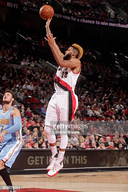 Allen Crabbe of the Portland Trail Blazers shoots the ball during the game Denver Nuggets on November 13 2016 at the Moda Center in Portland Oregon...