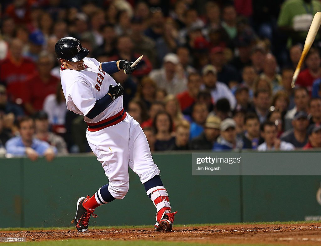Allen Craig #5 of the Boston Red Sox breaks a bat in the fourth inning against the Tampa Bay Rays at Fenway Park May 5, 2015 in Boston, Massachusetts.