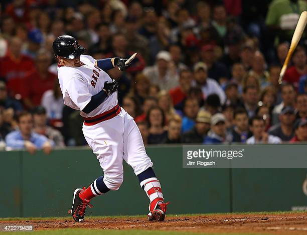 Allen Craig of the Boston Red Sox breaks a bat in the fourth inning against the Tampa Bay Rays at Fenway Park May 5 2015 in Boston Massachusetts