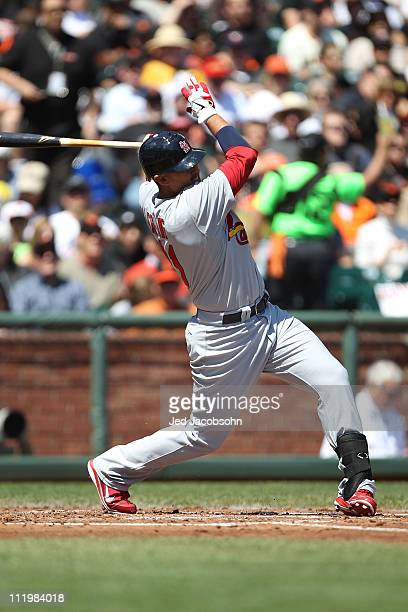 Allen Craig of the St Louis Cardinals bats against the San Francisco Giants at ATT Park on April 10 2011 in San Francisco California