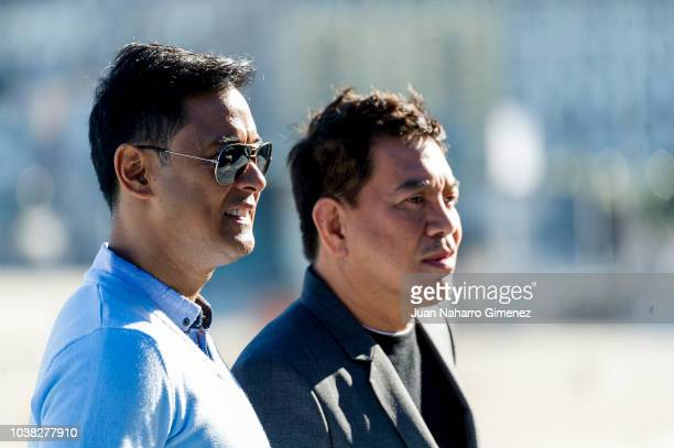 Allen Dizon and Brillante Mendoza attend 'Alpha, the right to kill' photocall during 66th San Sebastian Film Festival at Kursaal on September 23,...