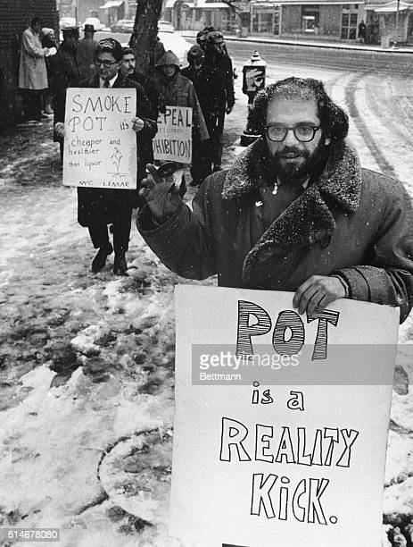 Allen Ginsberg leads a group of demonstrators outside outside the women's House of Detention in New York City's Greenwich Village advocating the use...